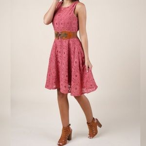 ALTAR'D STATE | Pink Lace Eyelet Mini Dress Y15